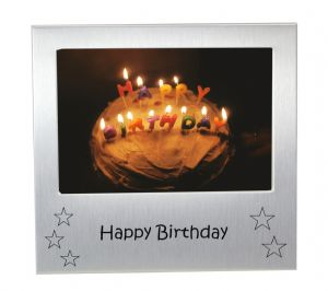 Happy Birthday - Photo Frame Gift - Photo Size 5 x 3.5 Inches (13 x 9 cm) - Brushed Aluminium Satin Silver Colour
